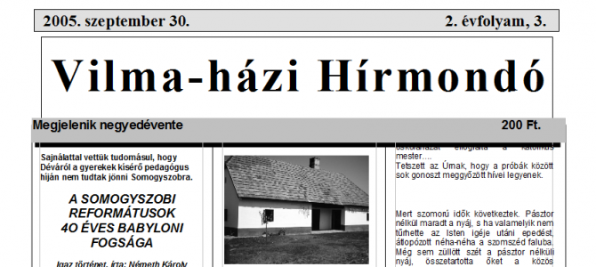 Vilma-házi Hírmondó 4 évfolyama – 2004-2008-ig